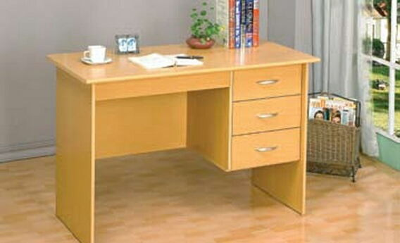 Natural finish wood student writing desk with drawers