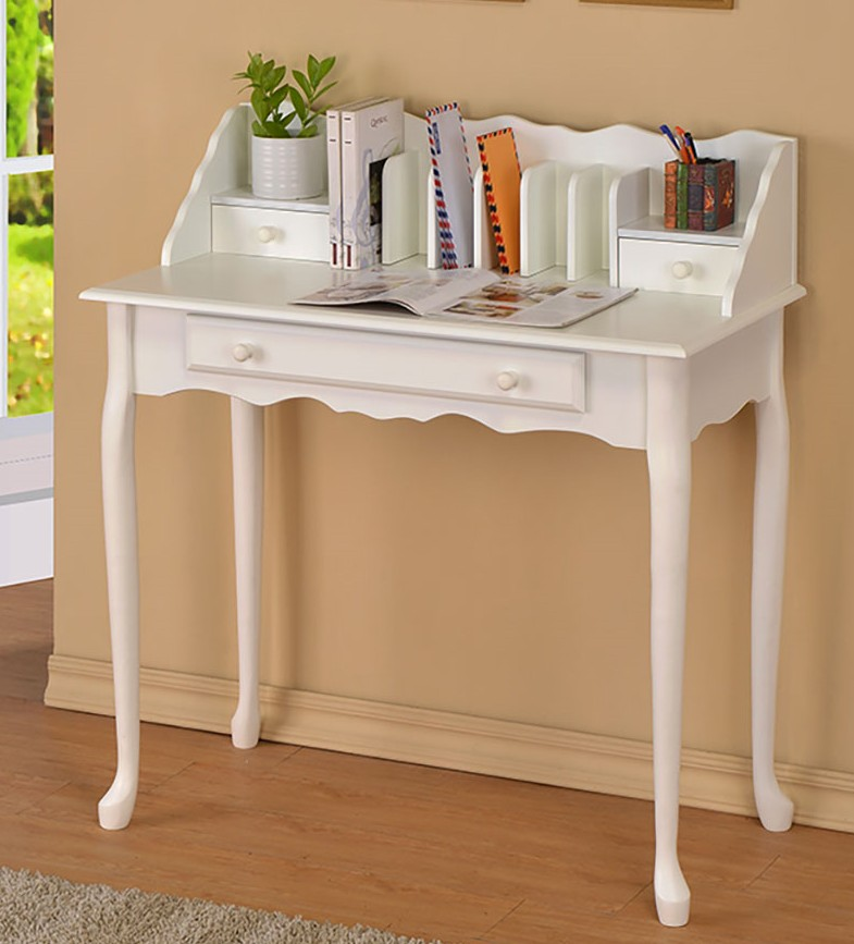 Asia Direct 6535-WH White finish wood multi purpose letter secretary desk table with drawer