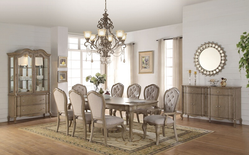 Acme 66050-52-53 7 pc Astoria grand chelmsford antique taupe finish wood beige fabric dining table set