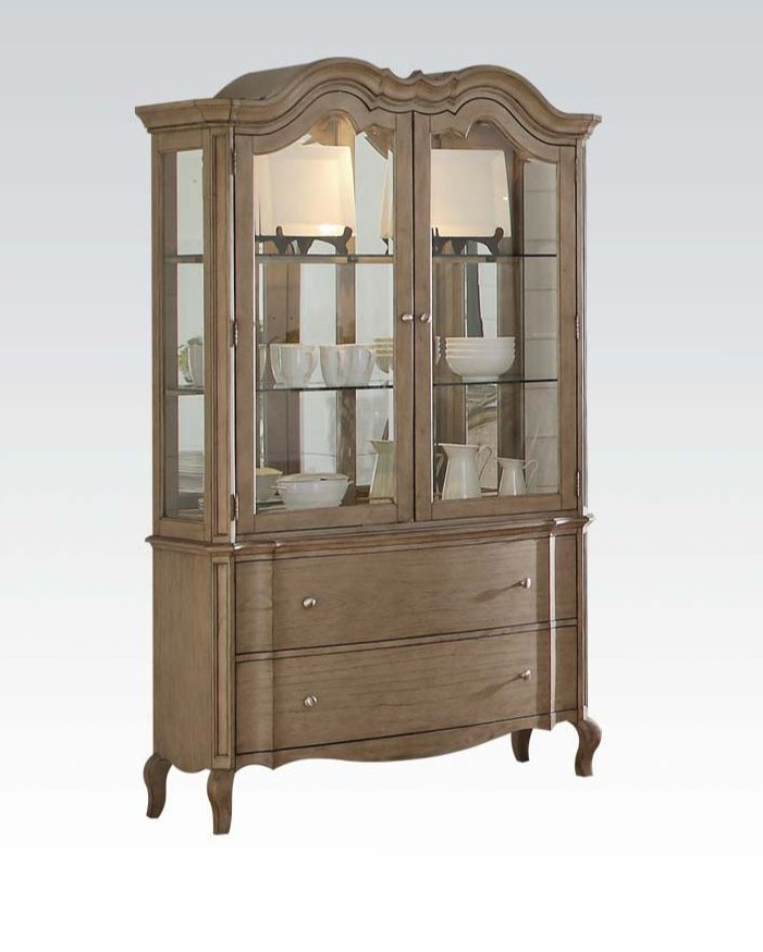 Acme 66054 Astoria grand chelmsford antique taupe finish wood curio china cabinet hutch and buffet