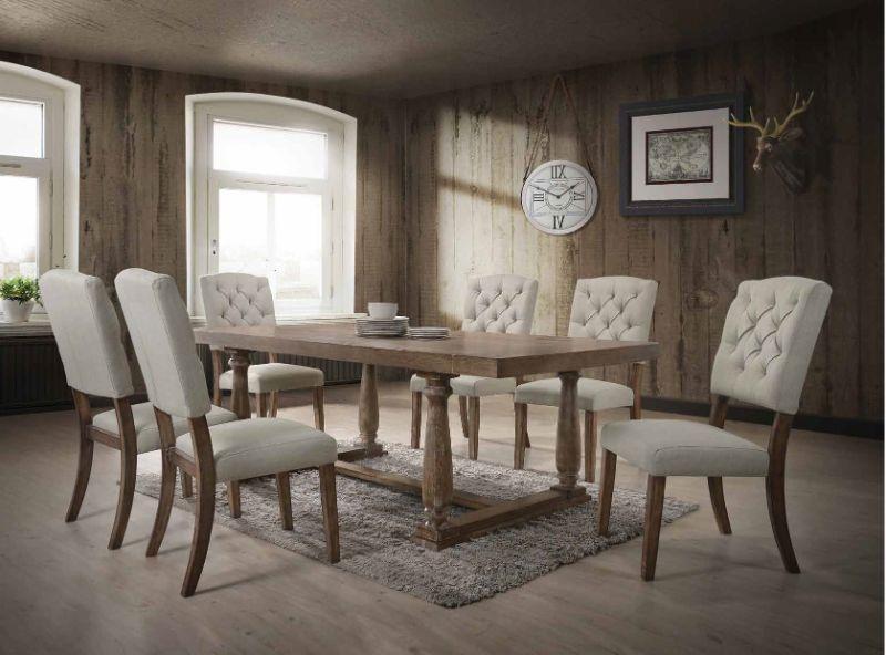 Acme 66185-87 7 pc Gracie oaks dement bernard weathered oak finish wood dining table set