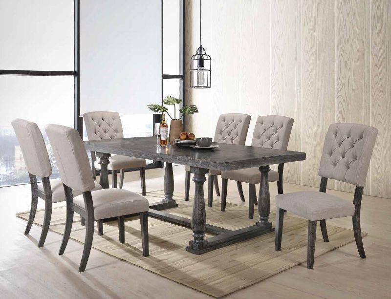 Acme 66190-92 7 pc Gracie oaks dement bernard weathered gray oak finish wood dining table set