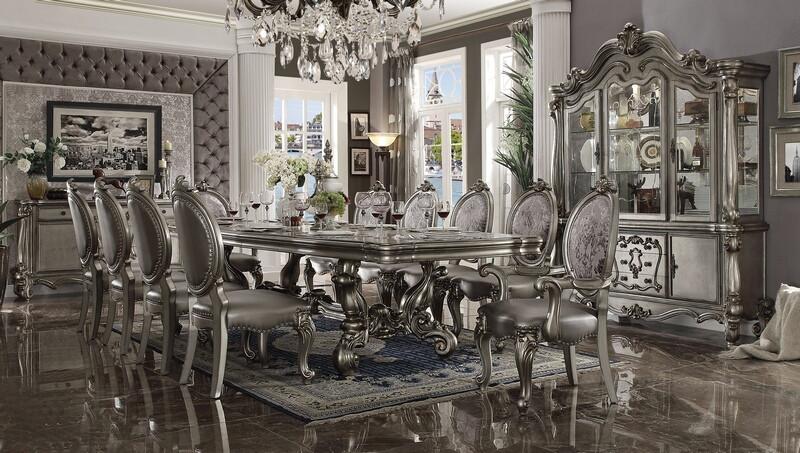 "Acme 66830-22-23 7 pc Astoria grand welton versailles antique platinum finish wood double pedestal 136"" dining table set"