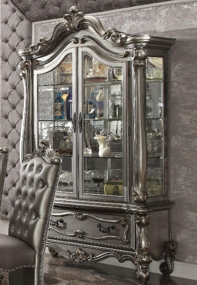 Acme 66838 Versailles antique platinum finish wood curio china cabinet