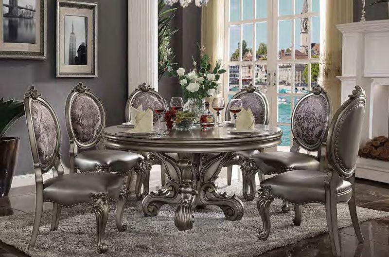 "Acme 66840-22 7 pc House of hampton charlene versailles antique platinum finish wood 60"" round dining table set"