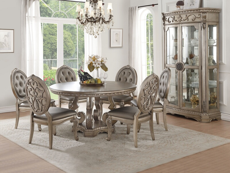 "Acme 66915-22 7 pc Rosdorf park leanos northville antique champagne finish wood 60"" round dining table set"
