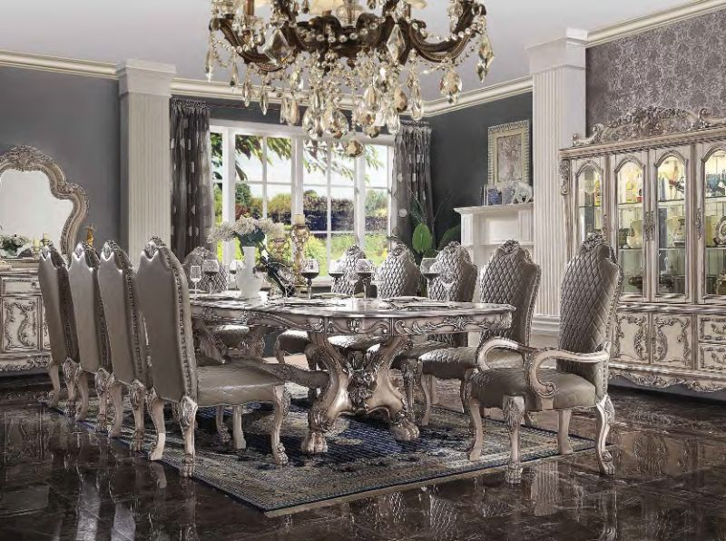 Acme 68170-72-73 7 pc Astoria grand penaflor dresden vintage bone finish wood double pedestal dining table set