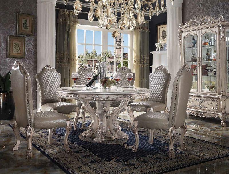 "Acme 68180-72 7 pc Astoria grand penaflor dresden vintage bone finish wood 60"" round dining table set"