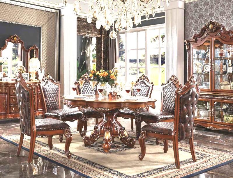 "Acme 68225-22 7 pc Astoria grand penaflor picardy cherry oak finish wood 62"" round dining table set"