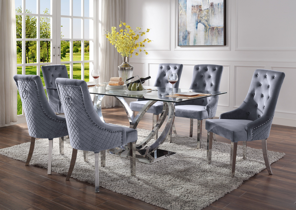 Acme 68260-64 7 pc Finley modern glam chrome metal and clear glass top dining table set