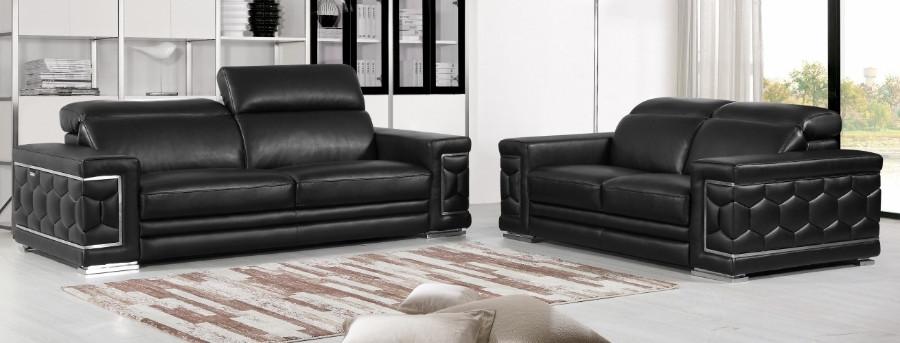 692BK-2PC 2 pc Orren ellis ferrara divanitalia black italian leather sofa and love seat set