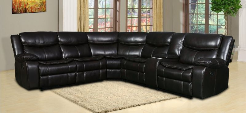 GU-6967BR-3PC 3 pc Red barrel studio quincy brown leather aire reclining sectional sofa set