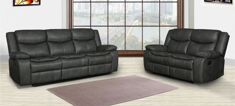 GU-6967DG-2PC 2 pc Red barrell studio dark gray leather aire sofa and love seat with recliner ends