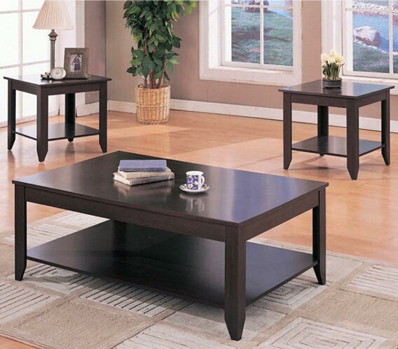 3 pc espresso finish wood coffee and end table set with lower shelf