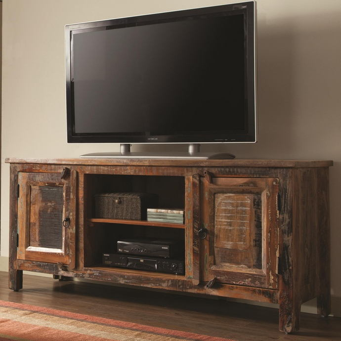 Reclaimed wood finish tv stand transitional style with  2 side cabinets and open shelves