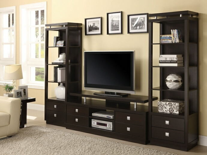 3 pc espresso finish wood contemporary style tv stand entertainment center with piers and lower drawers