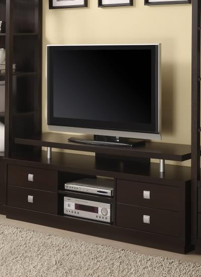 Espresso finish wood tv stand with multiple drawers and elevated tv platform