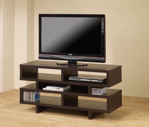 Modern style espresso finish wood step style shelves tv stand entertainment center
