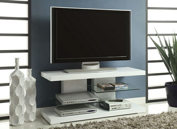 Glossy white finish wood contemporary style tv stand with open glass shelves