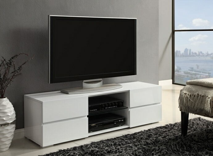 Glossy white finish wood modern contemporary style tv stand with open shelves and drawers