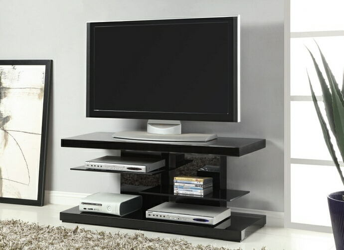 Glossy black finish wood contemporary style tv stand with open glass shelves