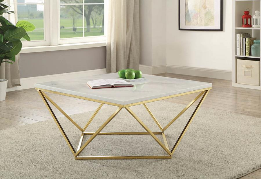 700846 Mercer 41 flack modern faux marble top polished brass metal square coffee table