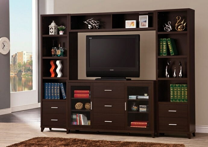 4 pc espresso finish wood contemporary style tv stand entertainment center with piers and bridge with lower drawers
