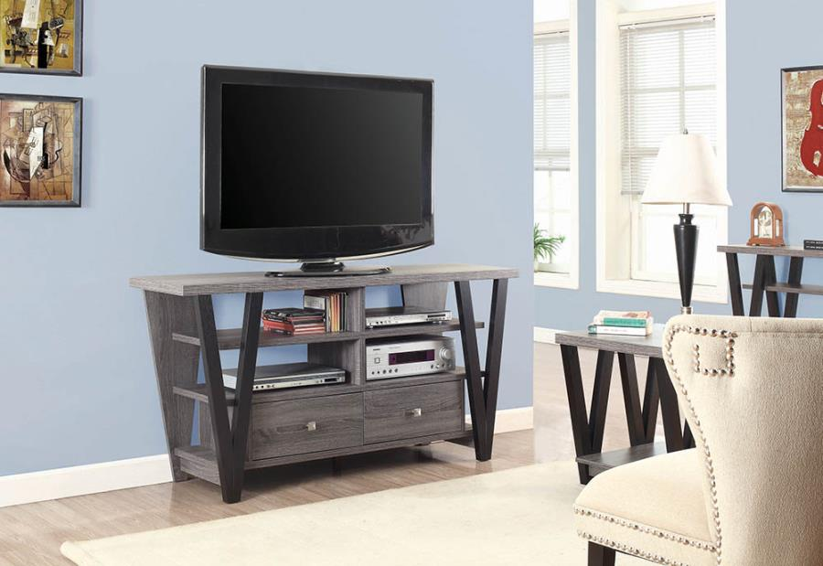 701015 Latitude run alanis antique grey black finish wood mid century modern tv stand console