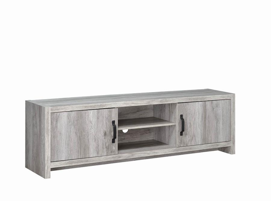 """701025 Union rustic parkchester grey driftwoiod finish wood 71"""" tv stand with cabinets"""