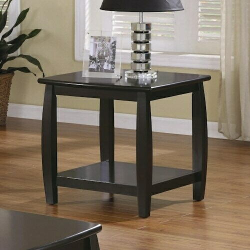 701077 Wildon espresso finish wood end table with lower shelf