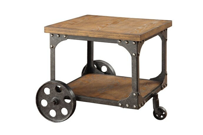Rustic double decker wagon brown finish wood and rustic metal cart style wheels country finish end table