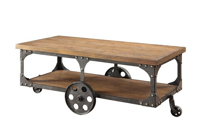 Rustic double decker wagon brown finish wood and rustic metal cart style wheels country finish coffee table