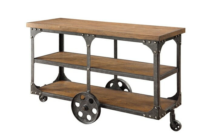 701129 Trent austin design corinne  brown finish wood and rustic metal cart style wheels country finish sofa table