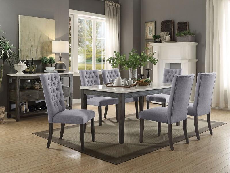 Acme 70165-68 7 pc Merel white marble top gray oak finish wood dining table set