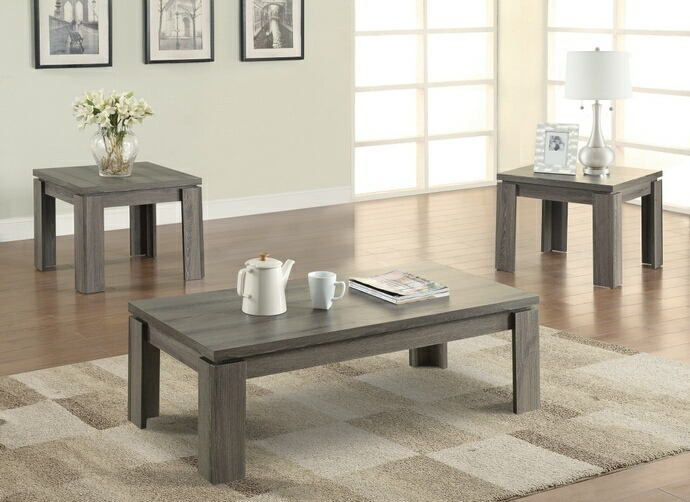 3 pc weathered grey finish wood transitional style coffee and end table set
