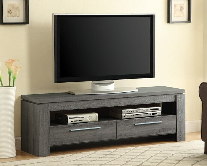 Weathered grey finish wood contemporary style tv stand with open shelves and 2 drawers