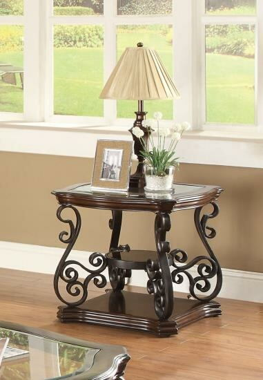 702447 Wildon dark merlot finish wood and ornate metal scrollwork end table