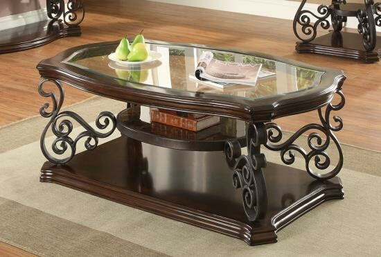 702448 Wildon dark merlot finish wood and ornate metal scrollwork coffee table