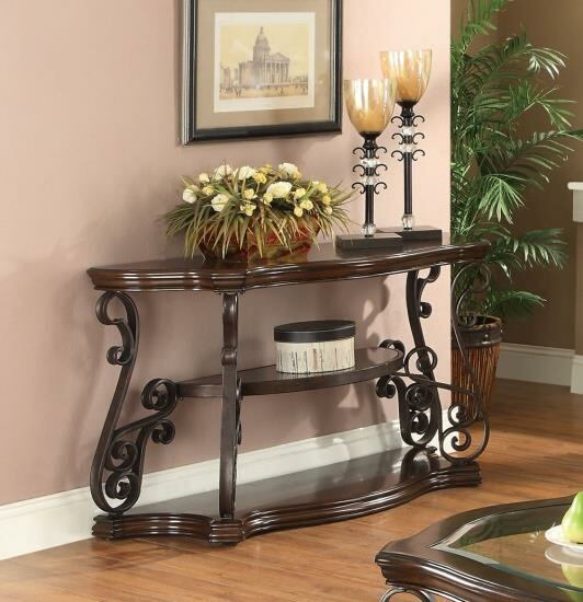 702449 Wildon dark merlot finish wood and ornate metal scrollwork half oval sofa table