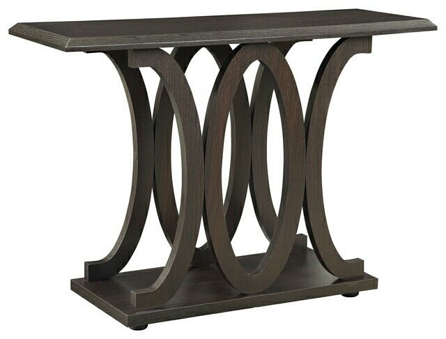 703149 Wildon home gracie oaks aisling espresso wood curved design legs sofa entry console table