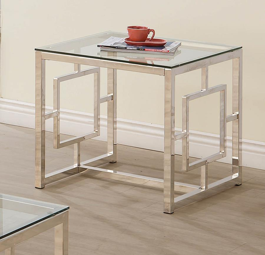703737 WIlla arlo interiors danberry chrome finish metal and glass end table