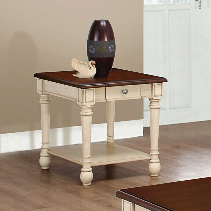 Wildon collection dark cherry and antique white finish wood and ornate accents end table