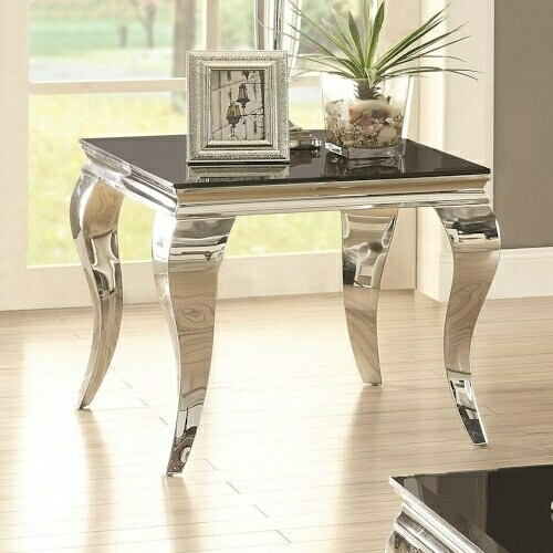 Wildon collection chrome finish and beveled black glass top end table