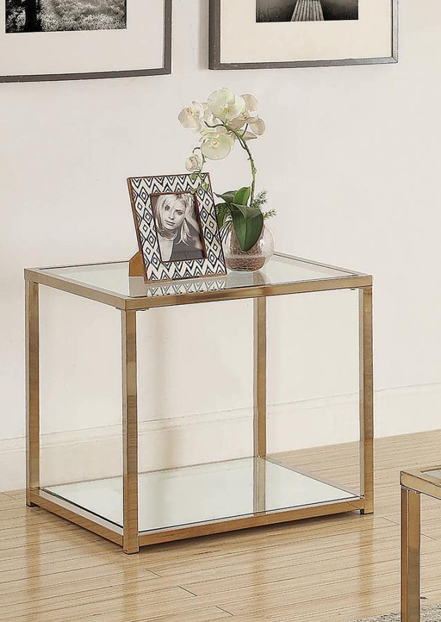 705237 Wildon home orren ellis chocolate chrome finish metal glass top end table