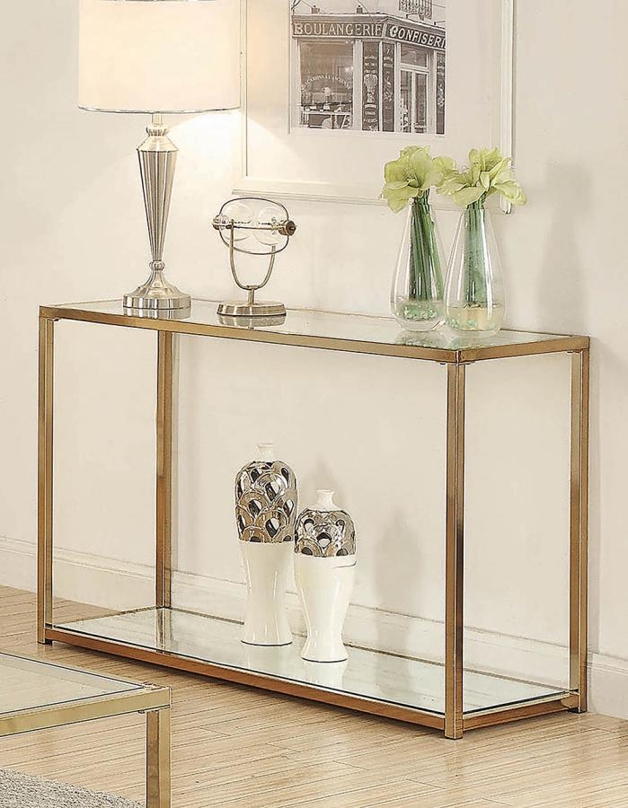 705239 Calantha modern chocolate chrome finish metal and glass sofa entry console table
