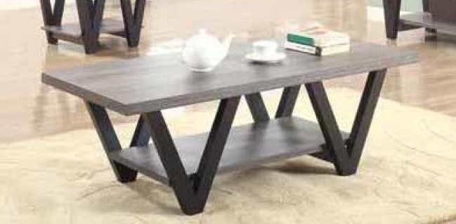 Wildon collection antique grey and black finish wood coffee table