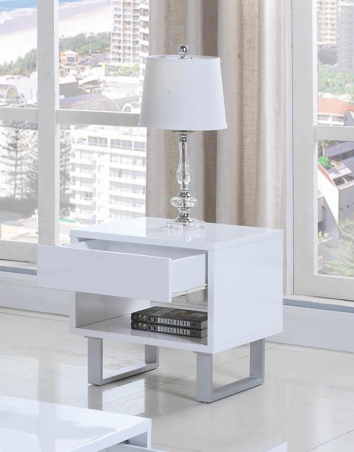 705697 Orren ellis braud cube design glossy white end table with drawer