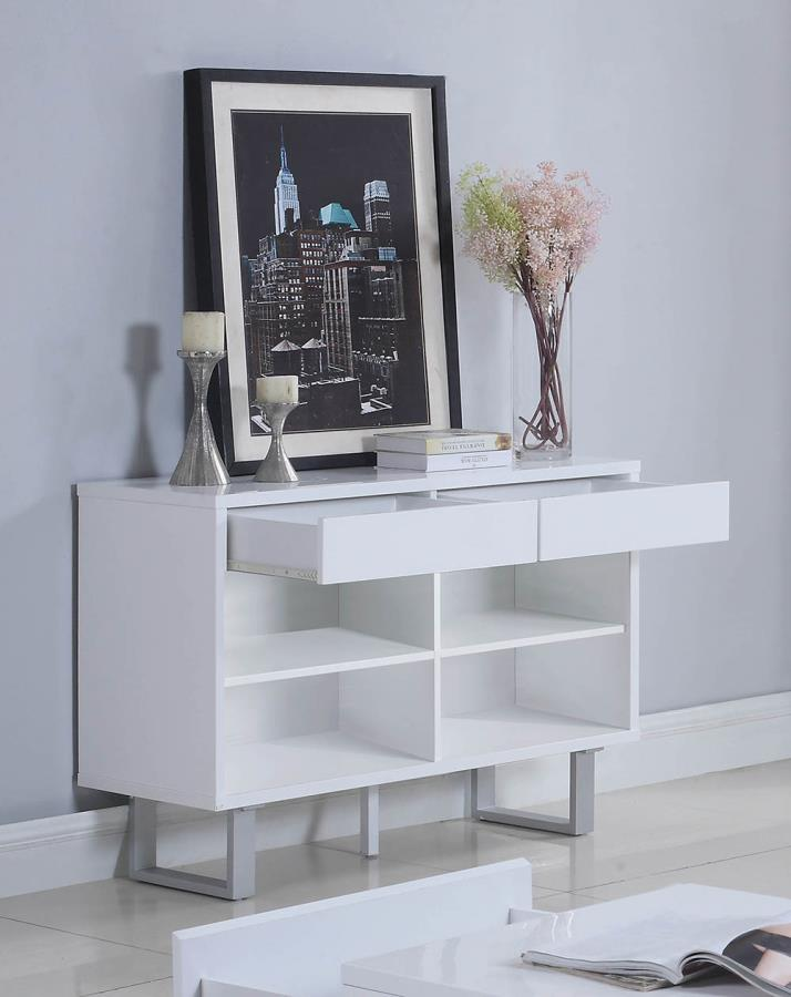 705699 Orren ellis braud cube design glossy white console sofa entry table with drawers