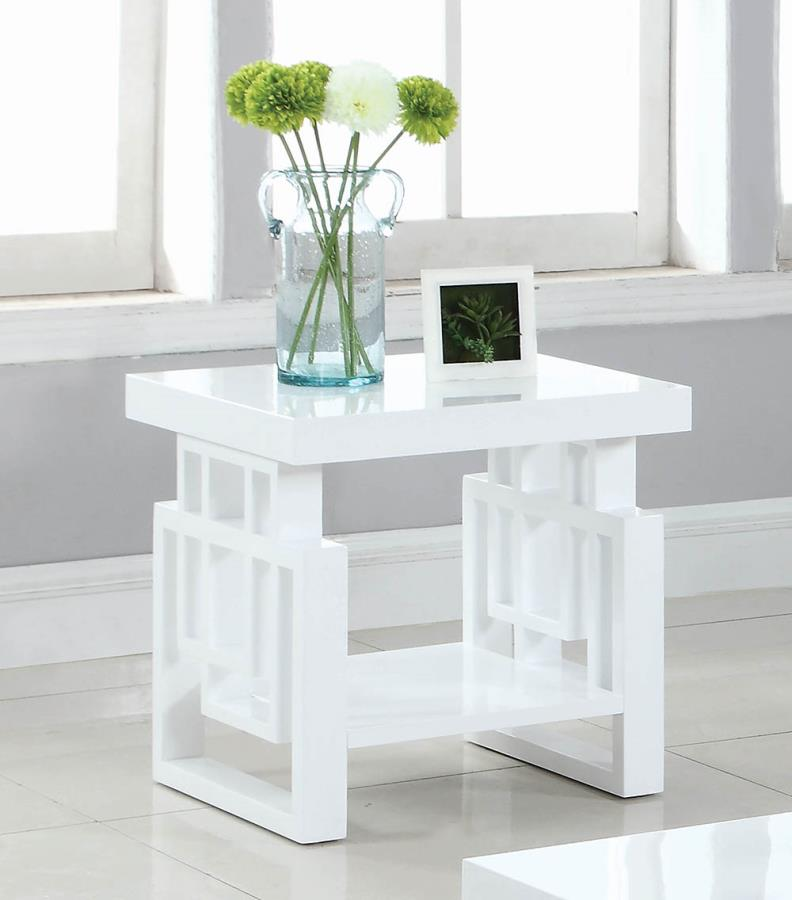 705707 Orren ellis braud modern artistic glossy white end table