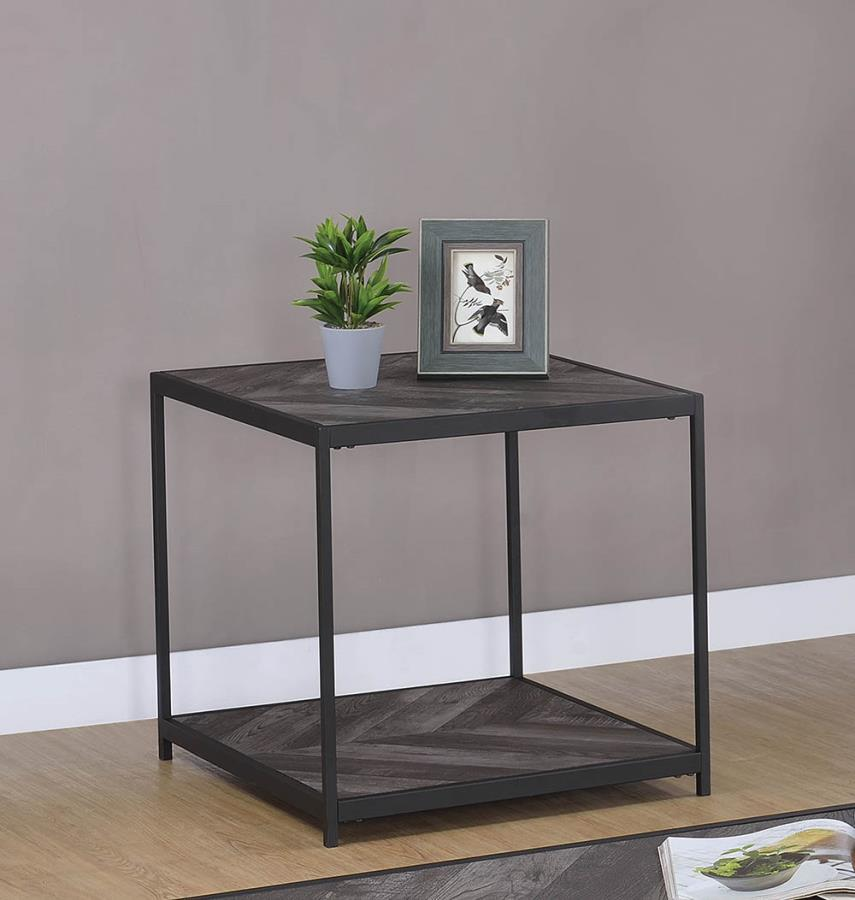 708167 Union rustic rosevale grey finish wood and black finish metal frame end table